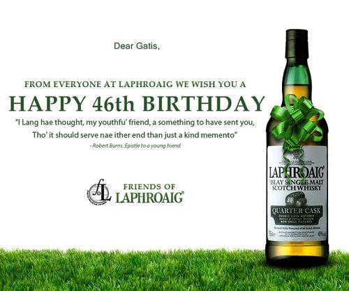 GK 46.gadu apsveikums no Laphroaig