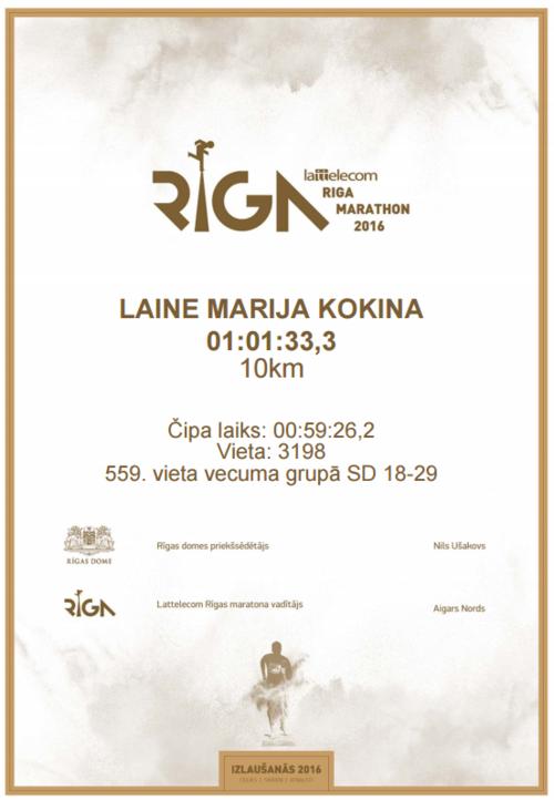 Alvja Sebastiana Kokina Rīgas Maratona diploms 2016