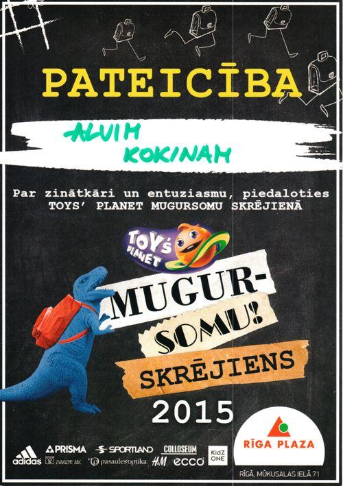 Alvja Sebastiana Kokina diploms par Mugursomu skrējienu 5-Sep-2015