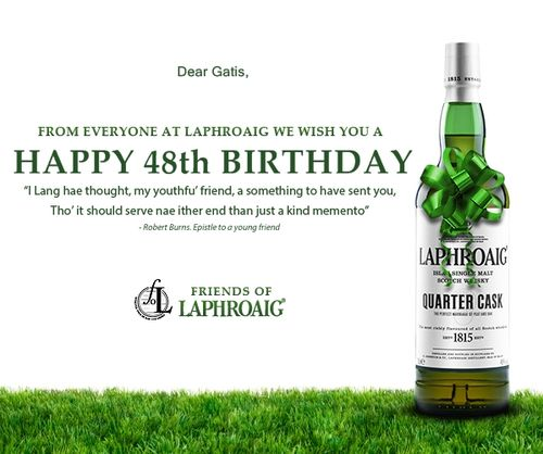 Laphroaig to GK in 48th birthday